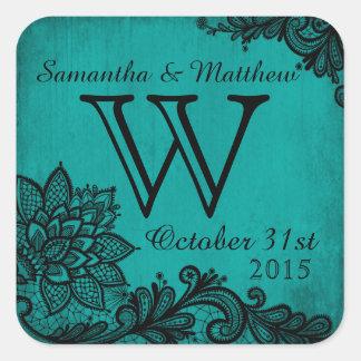 Goth Grunge Lace Wedding Gift Label Square Sticker