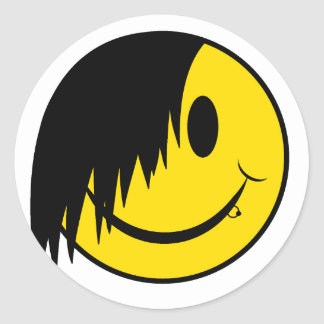 Goth Happy Face Classic Round Sticker