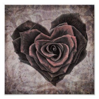goth heart rose poster