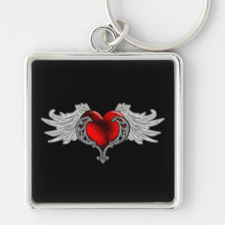 Goth Heart with Angel Wings Keychain
