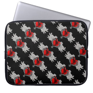 Goth Heart with Angel Wings Laptop Bag