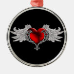 Goth Heart with Angel Wings Round Metal Christmas Ornament