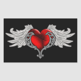Goth Heart with Angel Wings Rectangle Stickers