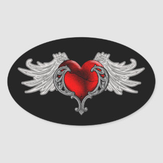 Goth Heart with Angel Wings Oval Stickers