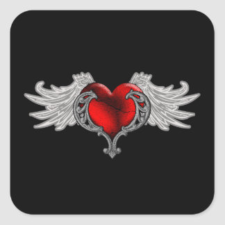 Goth Heart with Angel Wings Square Sticker