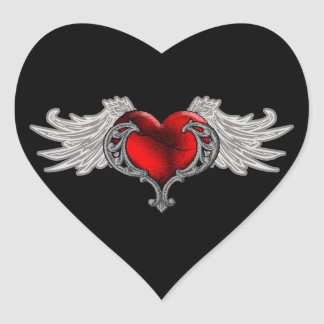Goth Heart with Angel Wings Heart Sticker