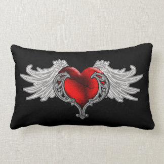 Goth Heart with Angel Wings Throw Pillow
