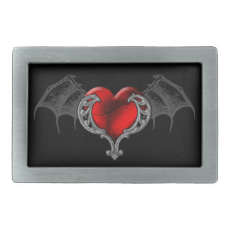 Goth Heart with Bat Wings Belt Buckle