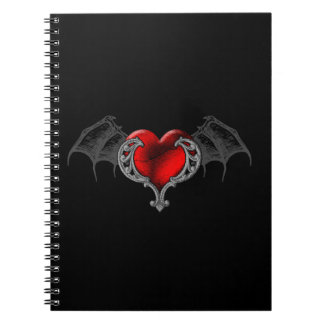 Goth Heart with Bat Wings Spiral Notebook