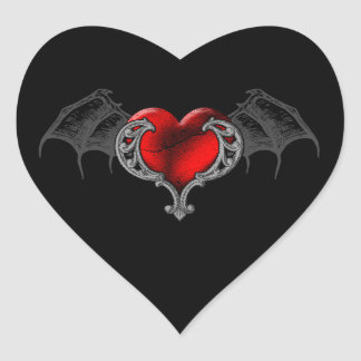 Goth Heart with Bat Wings Sticker