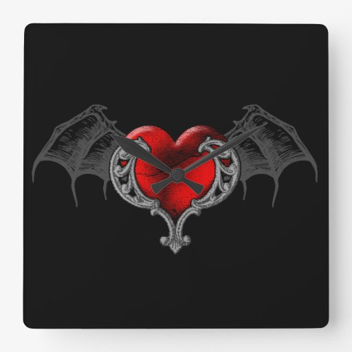Goth Heart with Bat Wings Wall Clock | Zazzle