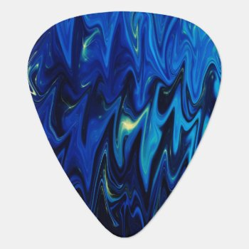 Goth Inspired Dark Shades Of Blue Abstract Pattern Guitar Pick by Thunes at Zazzle