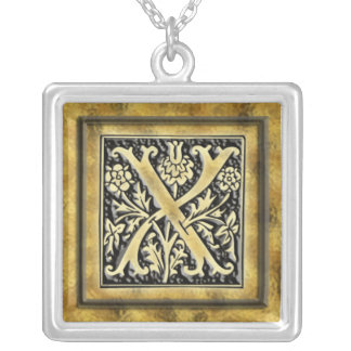 Goth Intricate Monogram Letter X Necklace