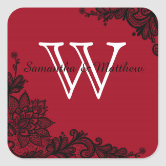 Goth Lace Wedding Gift Label Square Sticker