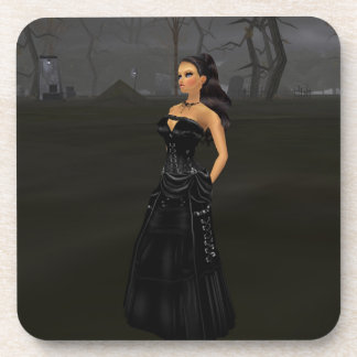 Goth Lady In A Graveyard Coasters