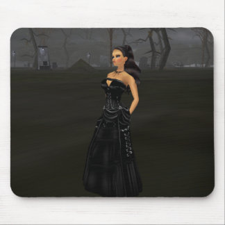 Goth Lady In A Graveyard Mouse Pad