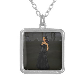 Goth Lady In A Graveyard Necklace