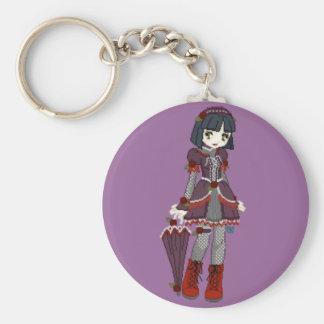 Goth Lolita Girl Basic Round Button Keychain