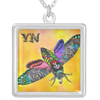 Goth Moth monogram necklace