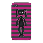 Goth Pink and Black Bunny Case For iPhone 4