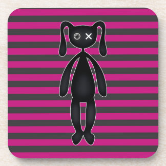 Goth Pink and Black Bunny Coaster