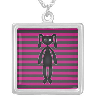 Goth Pink and Black Bunny Jewelry