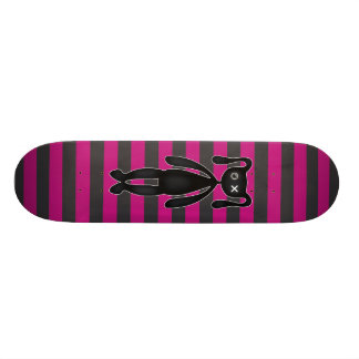 Goth Pink and Black Bunny Skateboard