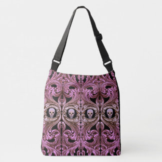Goth Pink Ornament with Skull Crossbody Bag