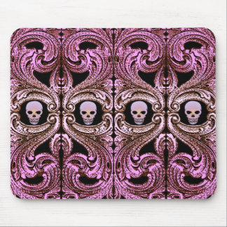 Goth Pink Ornament with Skull Mouse Pad