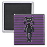 Goth Purple and Black Bunny Fridge Magnet