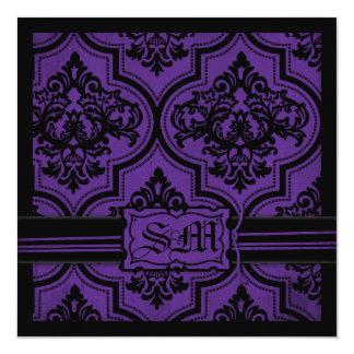 "Goth Purple Black Damask Wedding Invitations 5.25"" Square Invitation Card"
