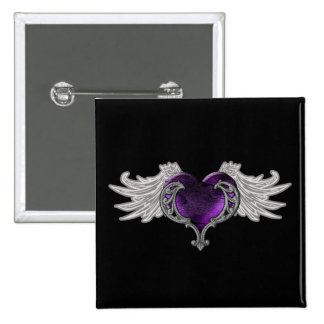 Goth Purple Heart with Angel Wings Button
