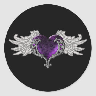 Goth Purple Heart with Angel Wings Classic Round Sticker