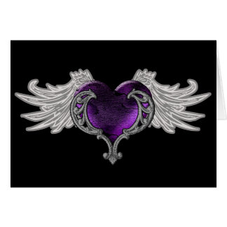 Goth Purple Heart with Angel Wings Greeting Card