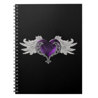 Goth Purple Heart with Angel Wings Notebook
