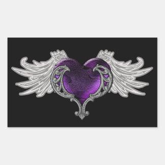 Goth Purple Heart with Angel Wings Sticker