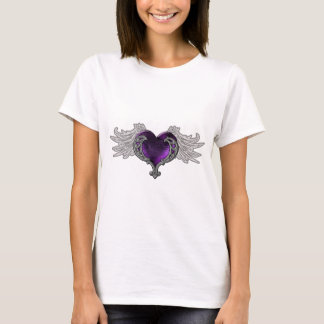 Goth Purple Heart With Angel Wings T-Shirt