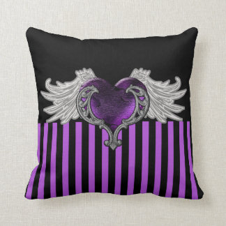 Goth Purple Heart with Angel Wings Throw Pillow