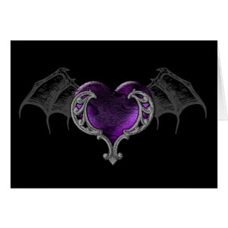 Goth Purple Heart with Bat Wings Greeting Card