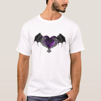 Goth Purple Heart with Bat Wings T-Shirt