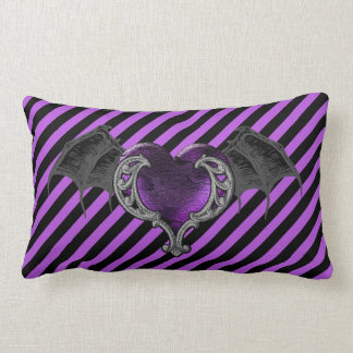 Goth Purple Heart with Bat Wings Throw Pillow