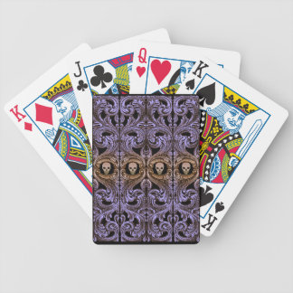Goth Purple Ornament and Skull Bicycle Playing Cards