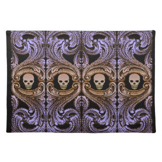 Goth Purple Ornament and Skull Cloth Placemat