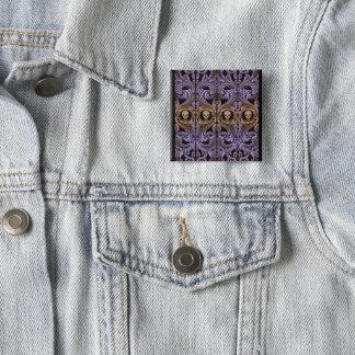 Goth Purple Ornament and Skull Pinback Button