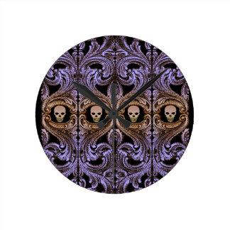 Goth Purple Ornament and Skull Round Clock
