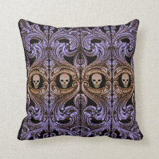 Goth Purple Ornament and Skull Throw Pillow