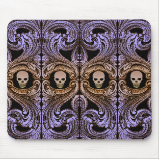Goth Purple Ornament With Skull Mouse Pad