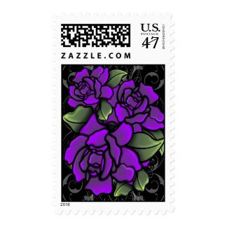 Goth Purple Passion Roses Postage