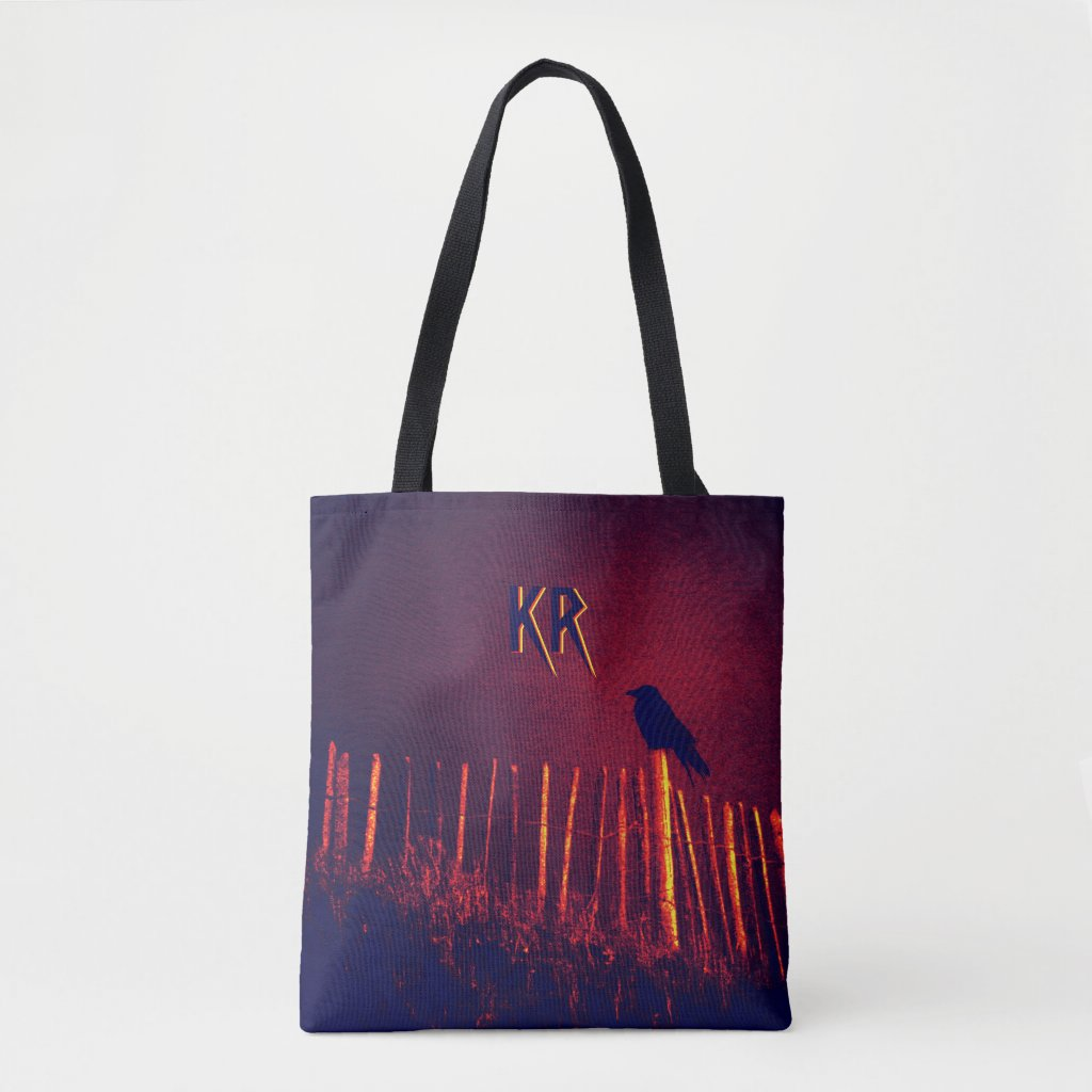 Goth Quoth The Raven Under Midnight Sky, Monogram Tote Bag