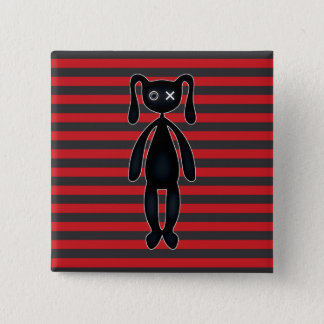 Goth Red and Black Bunny Button